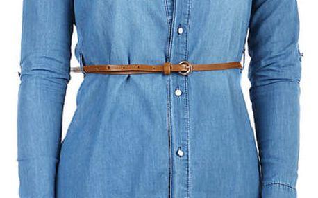 Dámská prodloužená džínová halenka modrá