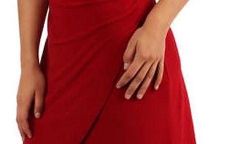 Dámské šaty se zavinovacím efektem - i pro plnoštíhlé červená