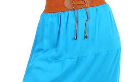 Dámská maxi sukně s ozdobným pasem modrá