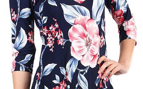 Dámské květované šaty s 3/4 rukávem tmavě modrá