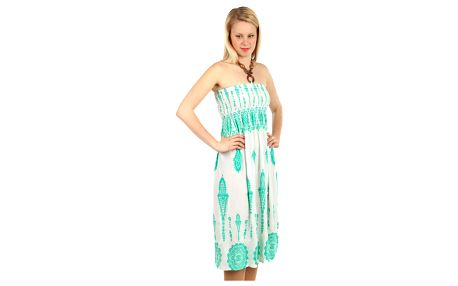 Vzdušné letní šaty s ozdobou bílá/zelená