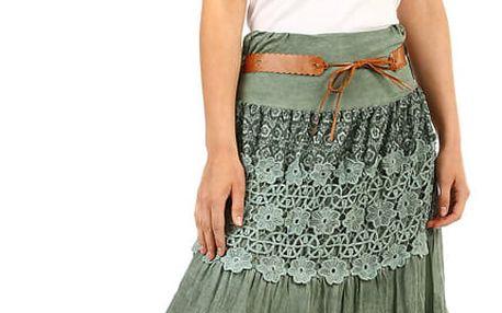 Dámská maxi sukně s krajkou khaki