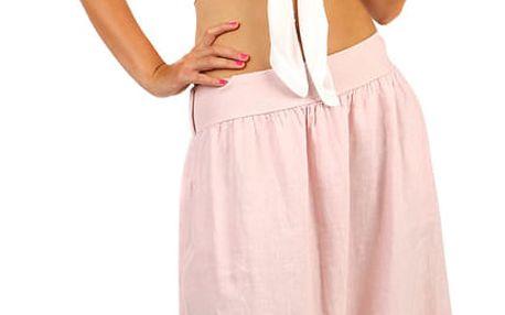Lněná dámská maxi sukně s kapsami růžová