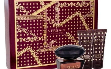 Versace Crystal Noir 50 ml dárková kazeta dárková sada pro ženy toaletní voda 50 ml + tělové mléko 50 ml + sprchový gel 50 ml