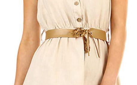 Dámské lněné šaty s límečkem béžová
