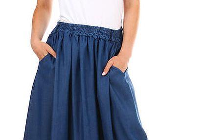 Dlouhá riflová dámská sukně s kapsami světle modrá