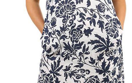 Lněné volné šaty s rostlinným vzorem - i pro plnoštíhlé