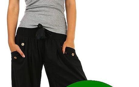 Harémové dámské kalhoty zelená