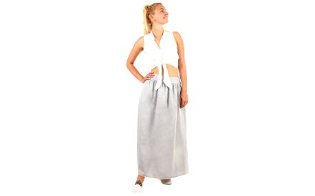 Lněná dámská maxi sukně s kapsami šedá