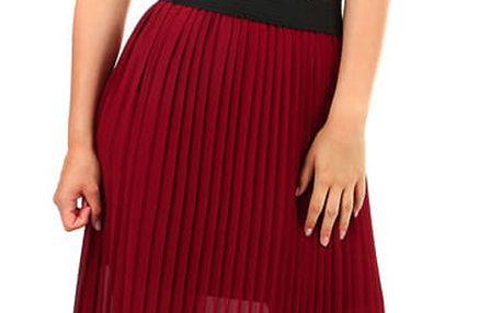 Dlouhá dámská plisovaná sukně vínová
