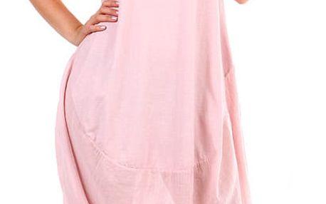 Plážové dámské bavlněné šaty růžová