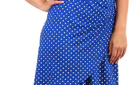 Dámské puntíkované retro šaty modrá
