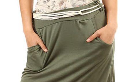 Dámská dlouhá jednobarevná sukně zelená