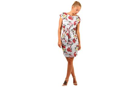Bavlněné květinové šaty s krátkým rukávem šedá