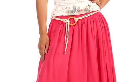 Romantická dámská maxi sukně růžová