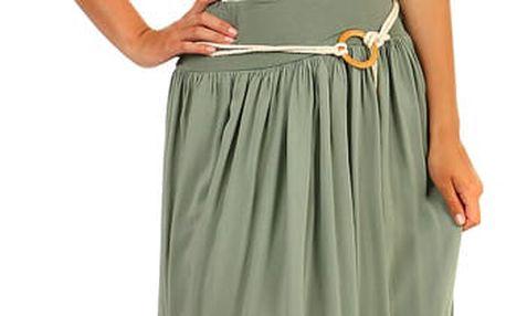 Romantická dámská maxi sukně zelená