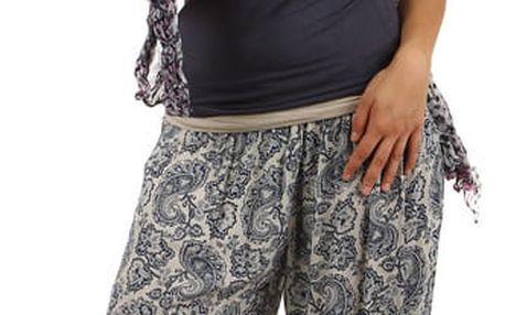 Dámské vzorované harémové kalhoty béžová