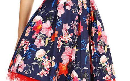 Dámské květované šaty s páskem tmavě modrá