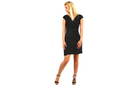 Dámské puntíkované retro šaty černá