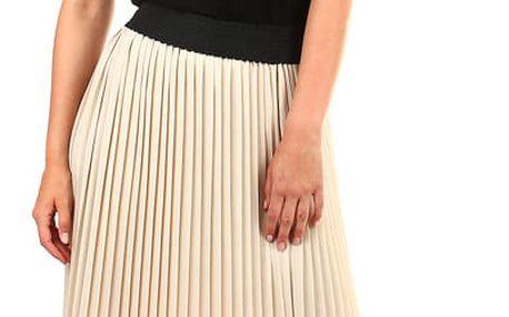 Dlouhá dámská plisovaná sukně béžová