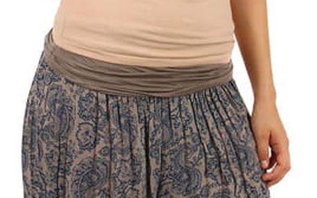 Dámské vzorované harémové kalhoty hnědá