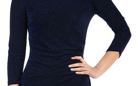 Třpytivé šaty s 3/4 rukávem tmavě modrá