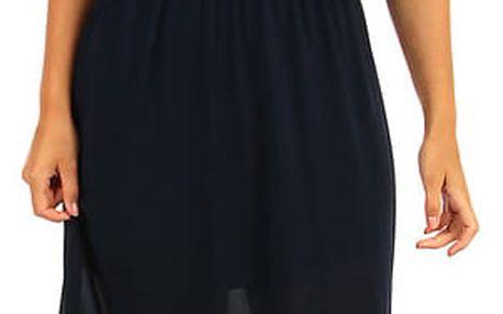Dlouhé šifonové maxi šaty tmavě modrá