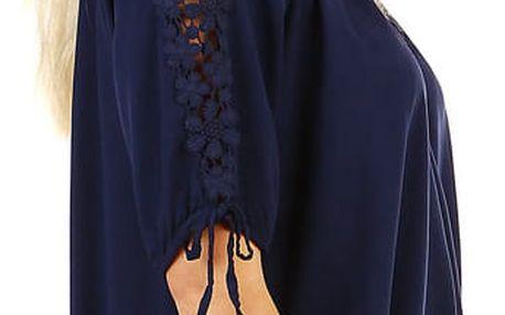 Volná dámská halenka s ozdobnými rukávy tmavě modrá