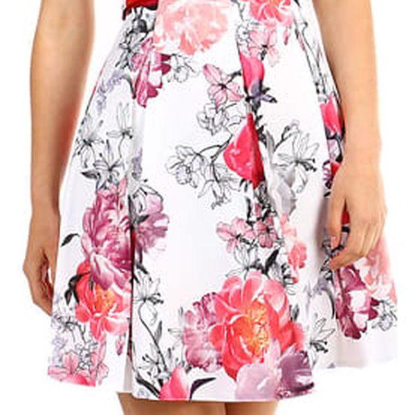 Dámské květované šaty áčkového střihu bílá2