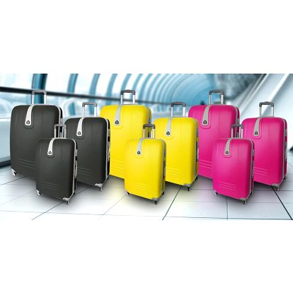 Sady tří skořepinových kufrů s otočnými kolečky