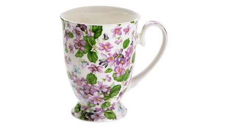 Hrnek z kostního porcelánu na nožce Maxwell & Williams Royal Old England Violets, 300 ml