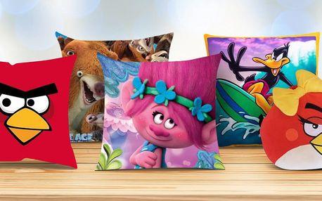 Licenční polštářky Angry Birds, Trolls a další
