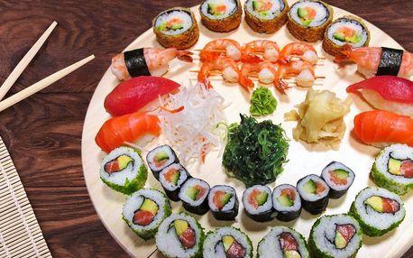 Sushi set: losos, tuňák, kaviár i krevety