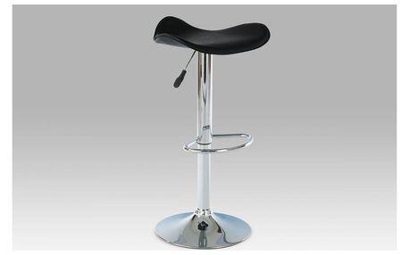 Barová židle, chrom / koženka černá AUB-300 BK Autronic