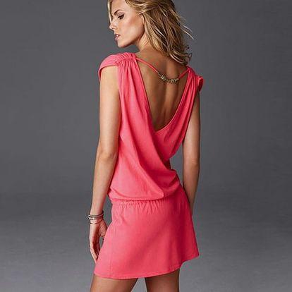 Dámské šaty v pestrých barvách - růžová barva - dodání do 2 dnů