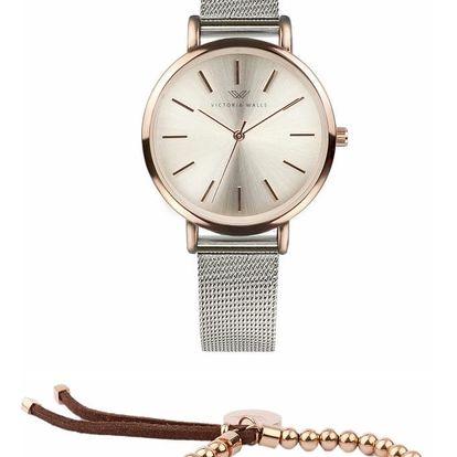 Set dámských hodinek s šedým koženým řemínkem a náramku Victoria Walls