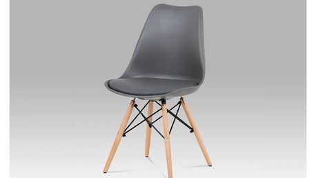 Jídelní židle šedý plast / šedá koženka / natural CT-741 GREY Autronic