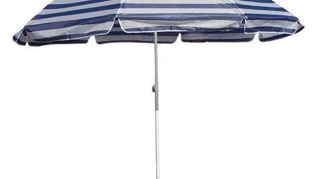 Slunečník plážový 230 cm, Happy Green, modré pruhy