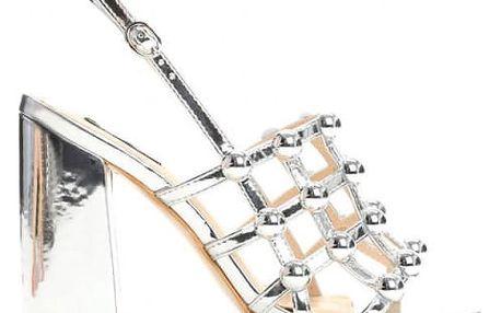 Dámské stříbrné sandály na podpatku Gil 2172