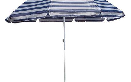 HAPPY GREEN Slunečník plážový 230 cm, modré pruhy