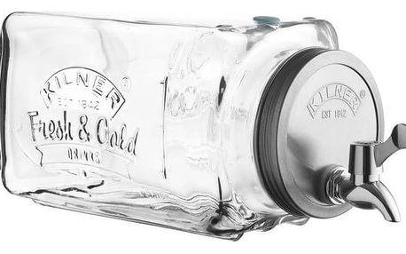 KILNER Skleněný nápojový automat do lednice 3 l, čirá barva, sklo