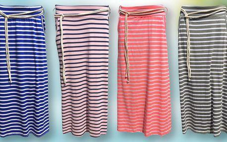 Dlouhé dámské pruhované sukně v 9 barvách