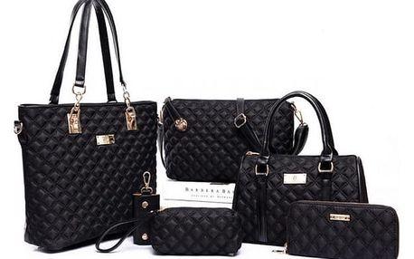 Velká sada dámských kabelek - 6 dílů - černá barva - dodání do 2 dnů