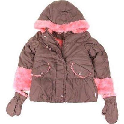 Dívčí bunda s kožíškem khaki/růžová vel. 98