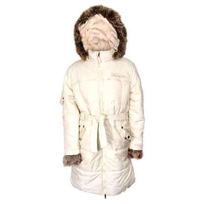 Dívčí zimní kabát světle žlutý s kožešinou vel. 98