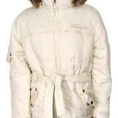 Dívčí zimní kabát světle žlutý s kožešinou vel. 92