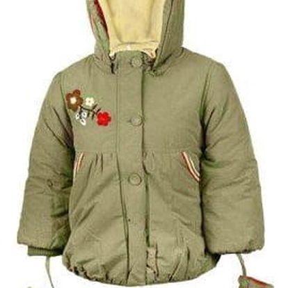 Dívčí zateplený kabátek s rukavičkami khaki vel. 80