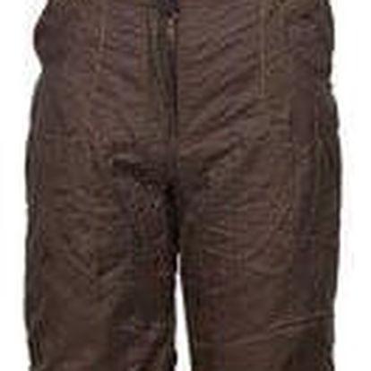 Zateplené dívčí kalhoty s kšandami hnědé vel. 140