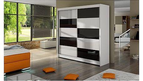 Velká šatní skříň FALCO II bílá/černá šířka 180 cm