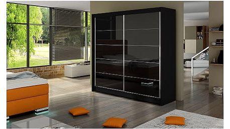 Velká šatní skříň FALCO I černá šířka 180 cm